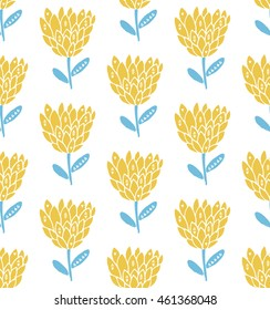 Retro flower seamless pattern, scandinavian style. Pastel yellow and blue colors. Nature texture
