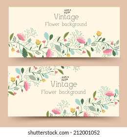 retro flower vertical banners concept. Vector illustration design
