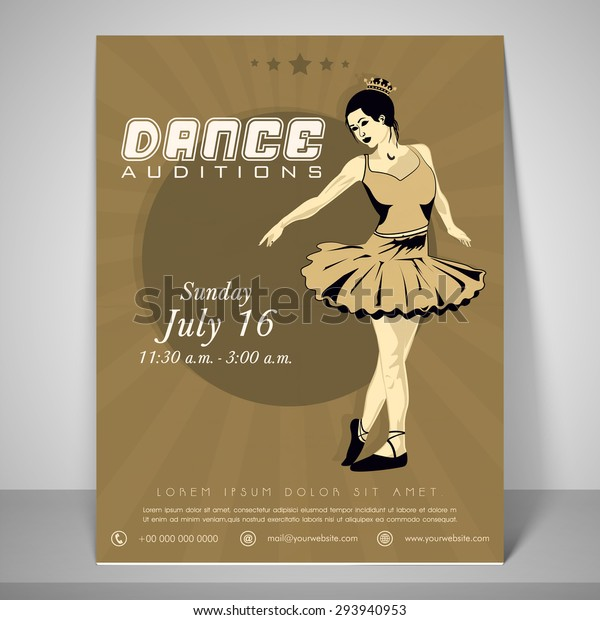 Retro Flyer for dance audition with a dancing girl, place holder, address bar and mailer.