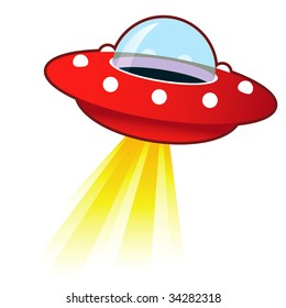 Retro flying saucer UFO with light beam.  Suitable for use on the web, in print, and on promotional materials.