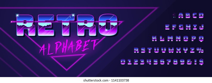 Retro font and alphabet 80's with metallic effect. Vector typeface in futurism style for your design.