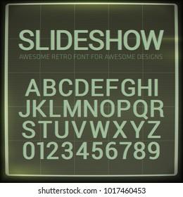 Retro font with blur effect. Vector distorted retro slide projec