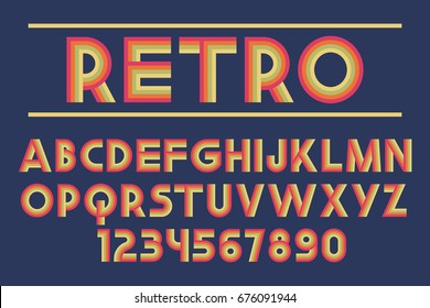 Retro font Decorative design Geometric letters and numbers Vector abc