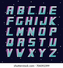 Retro font - fashion 80-90s. Vector english alphabet. Futuristic latin letters.