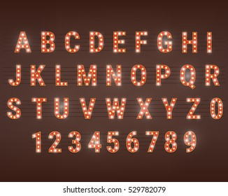 Retro font with light bulbs. Shiny letters and numbers. Retro light sign