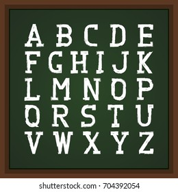 Retro font on chalkboard. Vector english alphabet. Grunge latin letters.