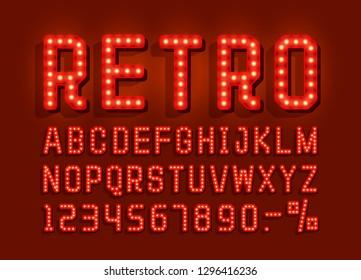 Retro font vintage, light sign set. Vector illustration