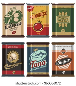Retro food cans vintage vector collection. No gradients, no transparencies, no drop shadow effects, only fill colors.