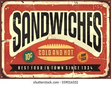 Retro food sign design for diner, restaurant or snack bar. Sandwiches vintage vector poster illustration on old red metal background.