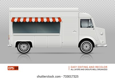 Retro Food truck vector mock-up for advertising, corporate identity. Isolated template of the Van on transparent background. Vehicle branding mockup. Easy to edit and recolor. View from right side.