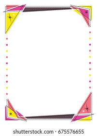 Retro frame design featuring triangles and circle lights