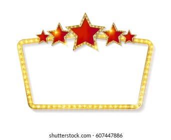 Retro frame with five stars and spots and blank billboard. Vector illustration. Isolated on white background