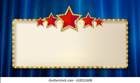 Retro frame with five stars and spots and blank billboard. Vector illustration. On the background of a blue curtain