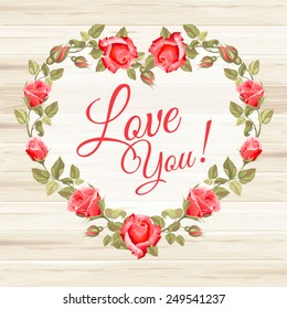 Retro frame (heart shape) from roses, painted in watercolor style, on wooden background