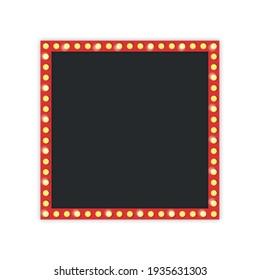 Retro frame with light bulb. Vintage empty frame template on white background. Vector illustration.