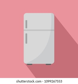 Retro fridge icon. Flat illustration of retro fridge vector icon for web design