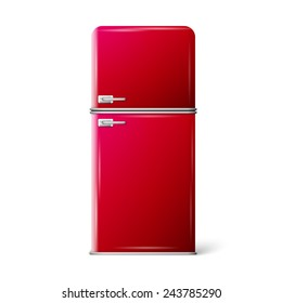 Retro Fridge refrigerator in red retro color. Household appliances. Vector isolated on white background