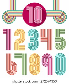Retro fun numbers. Color set of vintage.