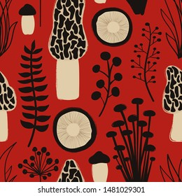 Retro fungi background. Autumn wild forest seamless pattern with mushrooms.