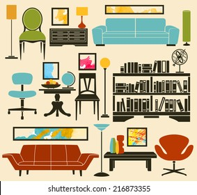 Retro Furniture and Home Accessories, including sofas, armchairs, club and office chair, coffee and side tables, bookshelf, lamps and interior decoration