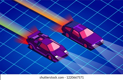 Retro future. 80s style sci-fi background with supercars. Futuristic retro cars. Vector retro futuristic synth illustration in 1980s posters style. Suitable for any print design in 80s style. Vector