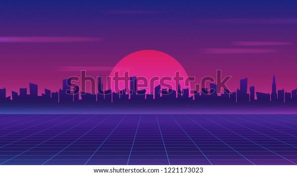Retro Future 80s Style Scifi Wallpaper Stock Vector Royalty Free 1221173023