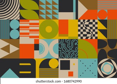 Retro future inspired artwork of vector abstract symbols with pastel colored geometric shapes, useful for web background, poster art design, magazine front page, retro prints, cover artwork.