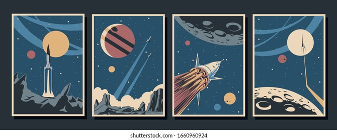 Retro Future Space Exploration Poster Set, Space Rockets, Planets, Stars