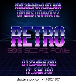 Retro futurism 80's sci-fi style metallic chrome violet colored bright style action movie vector font set.