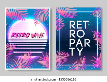 Retro Futurism flyer set. Vector futuristic synth wave illustration. 80s Retro poster Background. Good design for poster, t-shirt  print design and poster background. Futuristic vector illustration