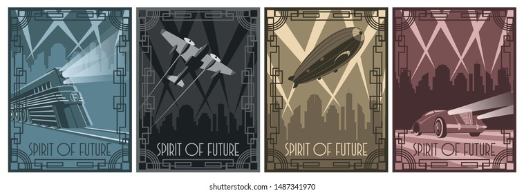 Retro Futurism Poster Stylization from the 1920s, 1930s Train, Airplane, Dirigible, Car Art Deco Style