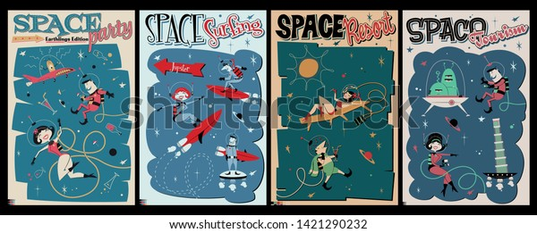 Retro Futurism, Space Party, Resort, Surfing and Space Tourism Mid-Century Modern Illustration