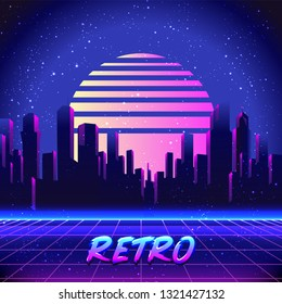 Retro Futurism. Vector futuristic synth wave illustration. 80s Retro poster Background with Night City Skyline. Rave party Flyer design template in 1980s style.