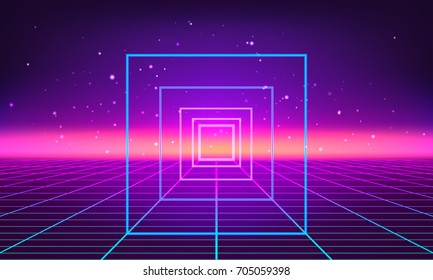 Retro futuristic abstract background made in 80s style. Abstract background with neon grids in vintage style. Vector illustration for your graphic design.