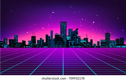 Retro futuristic abstract background made in 80s style. Abstract background with neon grids city silhouette in vintage style. Vector illustration for your graphic design.