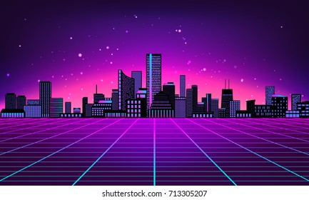 Retro futuristic abstract background made in 80s style. Abstract background with neon grids and city silhouette in vintage style. Vector illustration for your graphic design.
