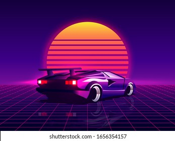 Retro futuristic back side view 80s supercar on trendy synthwave, vaporwave, sunset background. 80's concept. Template design for poster, flyer or banner. Vector illustration.