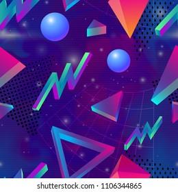Retro futuristic background 1980s style. Retro 80s fashion Sci-Fi Background  in bright neon colors. Synth retro wave  seamless pattern.