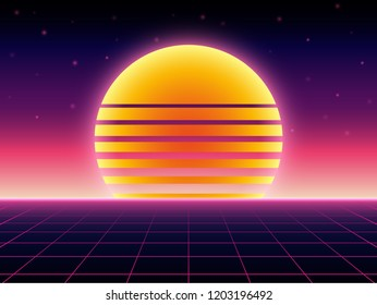 Retro futuristic background 1980s style. Digital landscape in a cyber world. Retro Wave music album cover template with sun, space, mountains and laser grid on terrain.
