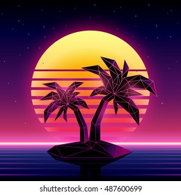 Retro futuristic background 1980s style. Digital palm tree on a cyber ocean in the computer world. Retro Wave music album cover template with sun, palm, island and laser grid ovr the ocean.