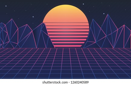 Retro futuristic background 80s. Vector illustration. Modern trendy background for design banners, posters, covers.