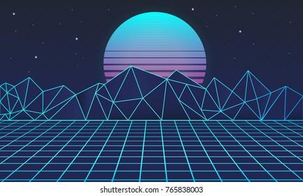 Retro futuristic background 80s. Vector illustration.