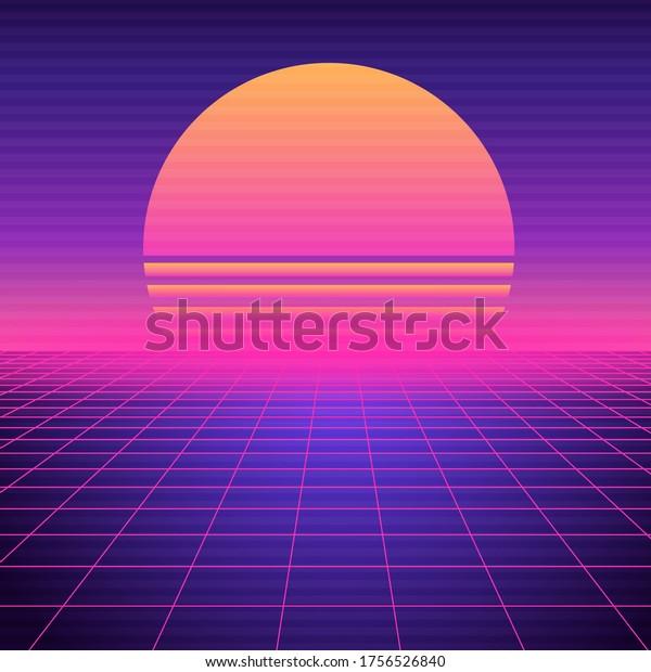 Retro Futuristic Background Vaporwave Neon Geometric Stock Vector Royalty Free 1756526840