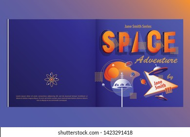 Retro futuristic children's book cover template in space theme with ufo flying saucers and planets in vibrant contrasting colors