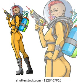 Retro futuristic female astronaut. Vector illustration of beautiful woman in yellow space suit holding laser blaster weapon. Pop art cartoon style mascot.