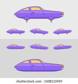 Retro futuristic flat style flying car design. 2d game retro flying car design, animation steps, levitation car moving forward and backward