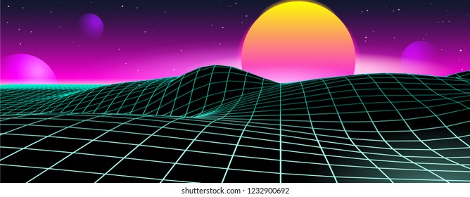 Retro Futuristic Game Planet Landscape Background 1980s Style. Digital Space Cyber Wave Surface. 80s Party Fashion Sci-Fi. Creative Template For Advertising Poster, Cover, Banner.
