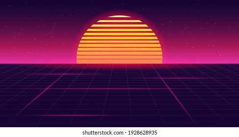Retro futuristic sunset background with grid. 80s style. Retrowave, synthwave futuristic background. Night sky with stars and sun. Template design for cyber or sci-fi abstract concept. Vector