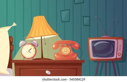 Retro gadgets cartoon composition with alarm clock phone tv lamp nightstand in bedroom vector illustration