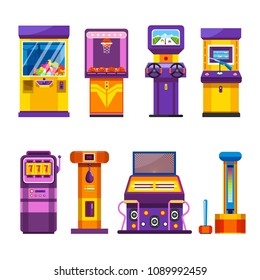 Retro game machines with joysticks and big screens set